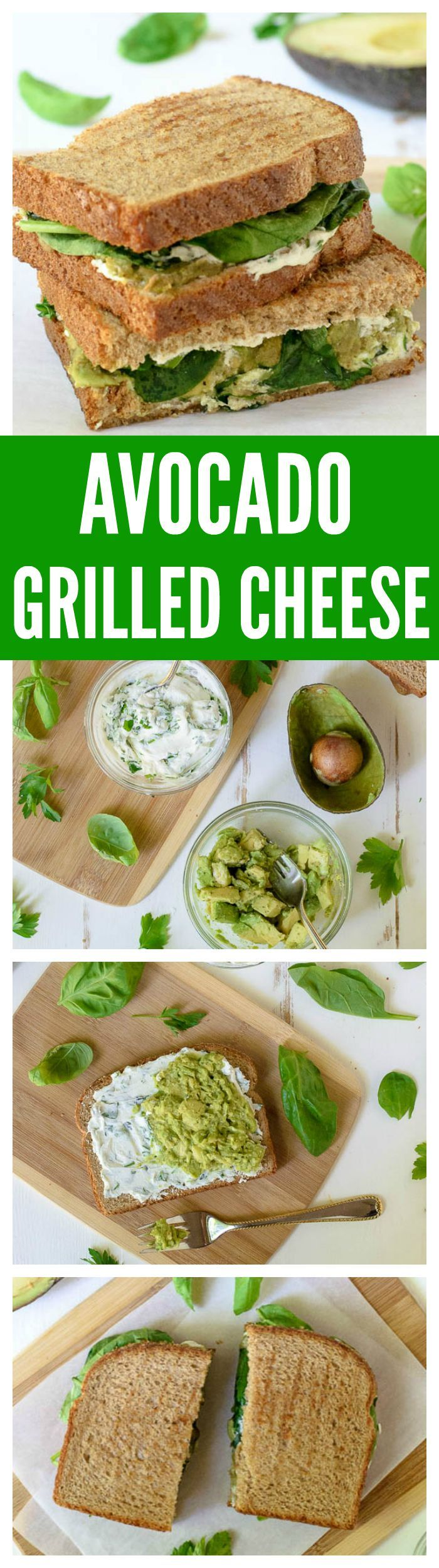Avocado Grilled Cheese with Goat Cheese and Garlic. Creamy and delicious!