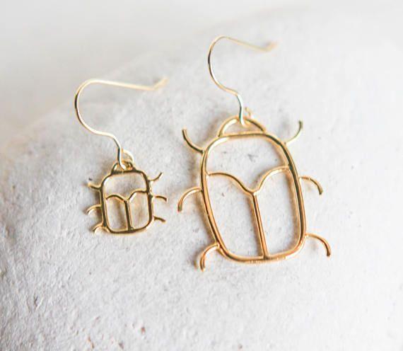 scarab jewelry asymmetric earrings long gold earrings