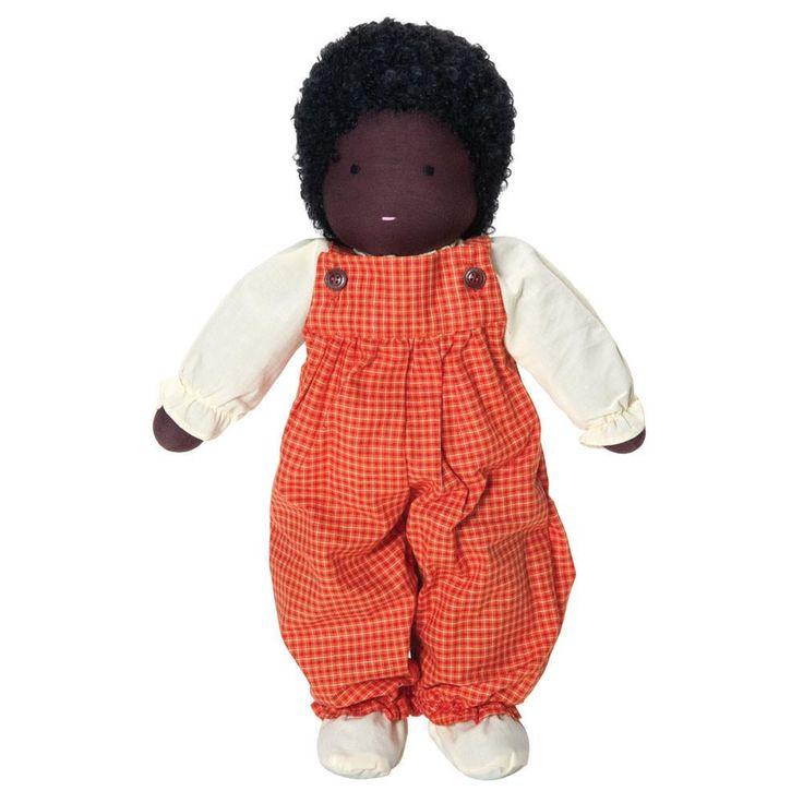 Classic Waldorf Boy Doll – Dark Skin, Black Hair