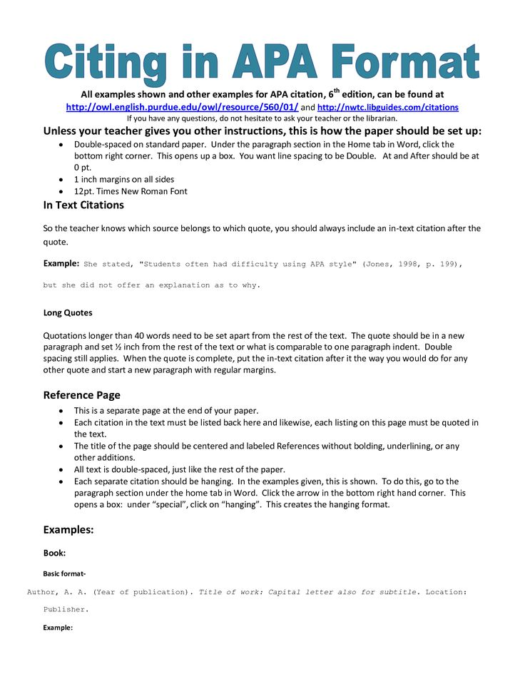 example of apa citation in paper | APA citation handout