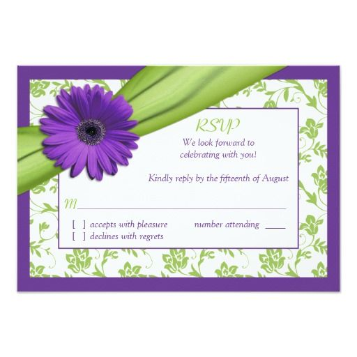 Purple Green Daisy Floral Wedding Reply Card Announcement