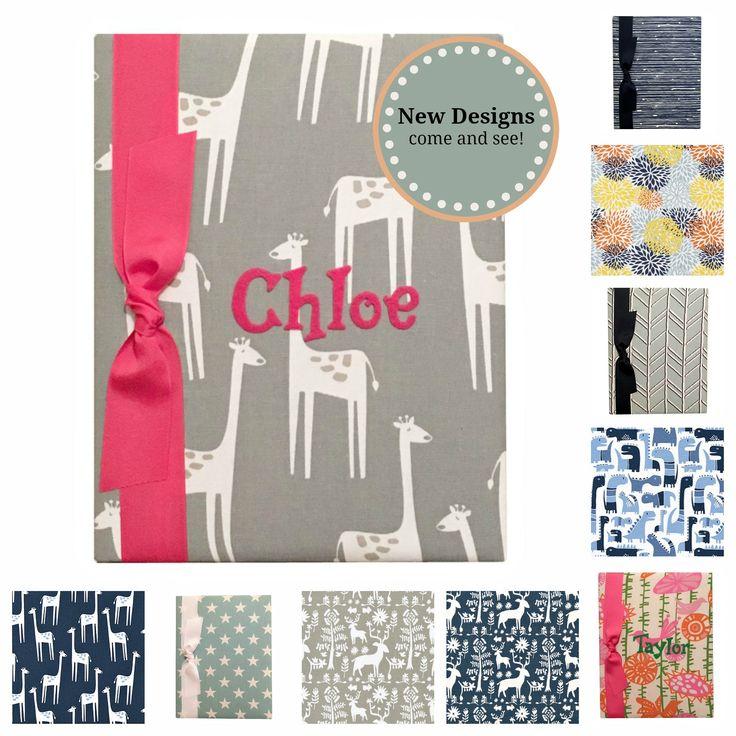 Baby Memory Books, personalized baby memory books, giraffe fabric, dinosaurs, floral print, stars, herringbone fabrics