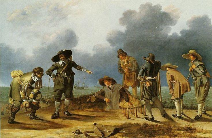 Adam Willaerts (1577-1664). Dit schilderij van Adam Willaerts is waarschijnlijk gemaakt tussen 1635 en 1640. Enkele jongelieden kegelen boven op het duin. In het midden staan 9 kegels. De kegelaar heeft zijn zwaard en hoed op de grond gelegd en staat klaar om ze alle 9 om te gooien. Tussen de twee mannen an de linkerkant is een pink op het strand te zien. In de verte zeilt een groot schip. (Coll. Detroit Institute of Arts)