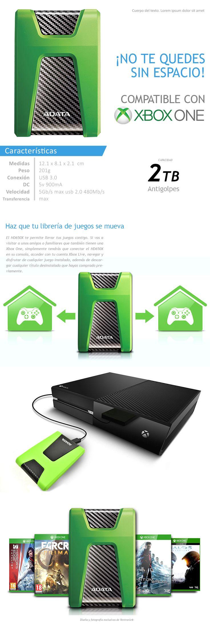 Adata Disco Duro Externo 2tb Portatil Xbox One Hd650x Verde - $ 2,112.99 en Mercado Libre
