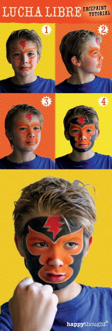 How to face paint a lucha libre mask: Easy 5 step tutorial and free download PDF for teh classroom or homeschool. #masktemplate #cincodemayo #craftsforkids #activities #children #mexican https://happythought.co.uk/cinco-de-mayo/lucha-libre-face-paint-tutorial