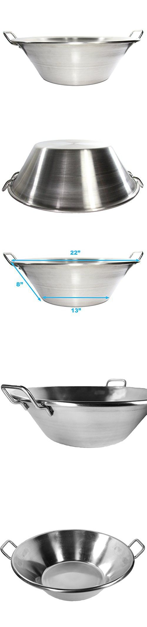 "Cazo Stainless Steel Large 22"" Widespread Heavy Duty Caso Para Freir Carnitas Acero Inoxidable"