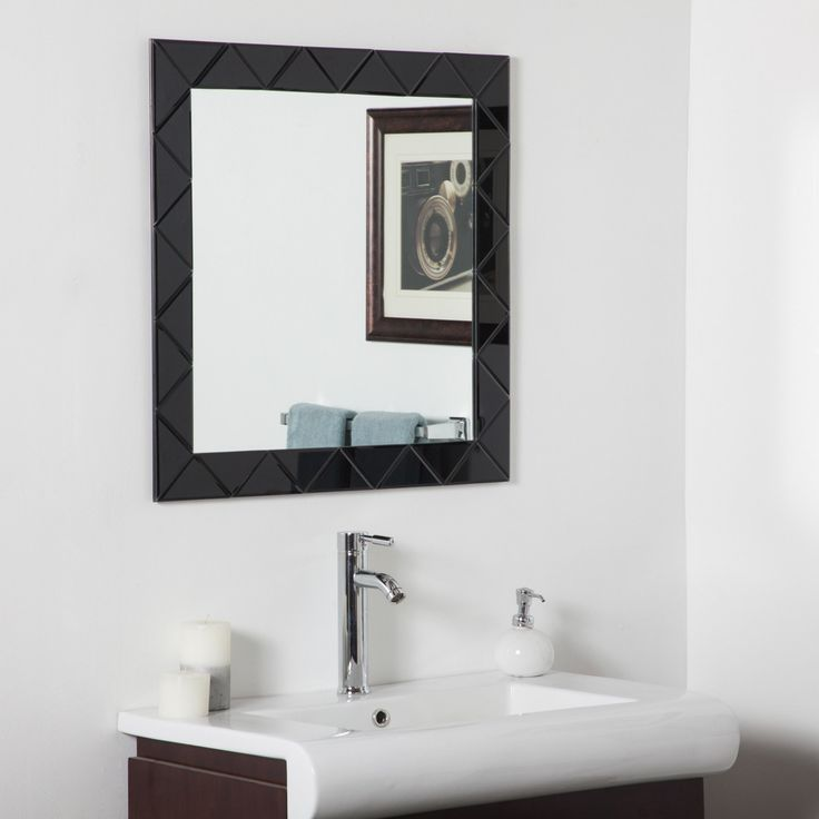 Décor Wonderland Luciano Frameless Black Wall Mirror   28W X 28H In.
