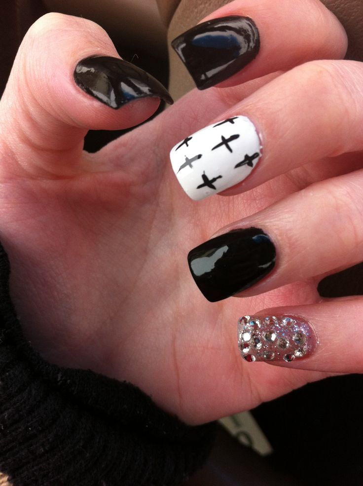 ... cross nails nails design acrylic nails black nail design nail art