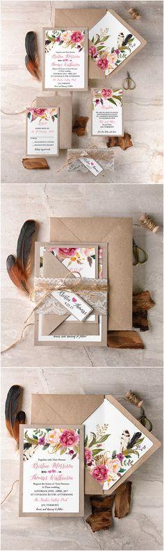 Faire-part - Vintage / Romantique / Élégant / Shabby chic / Rustique - Florale & Kraft & Pocketfold