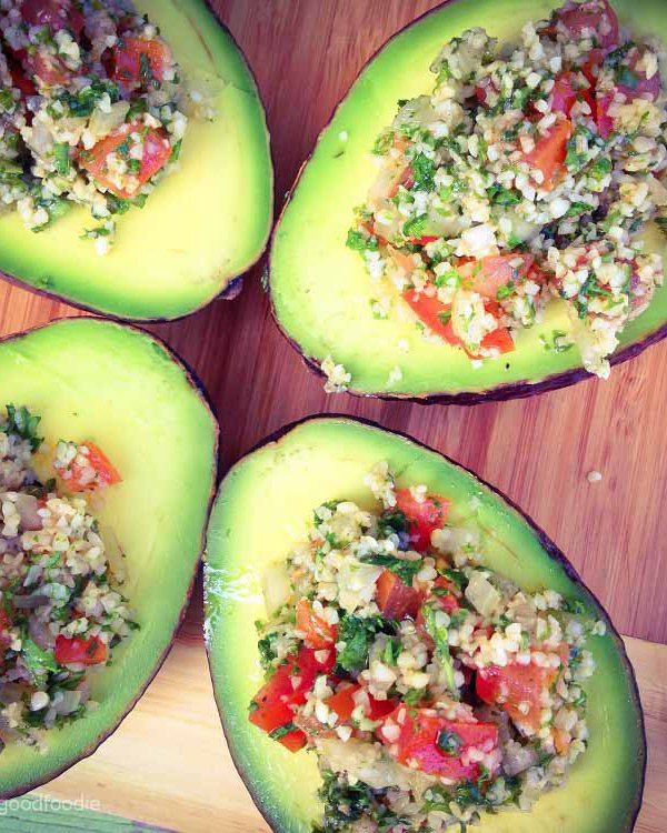Avocado Bowls with Bulgur Salad: Cute Avocado Bowls with Bulgur Salad, made with parsley, tomatoes and mint. A healthy, delicious Mediterranean appetizer or side dish to wow your guests.