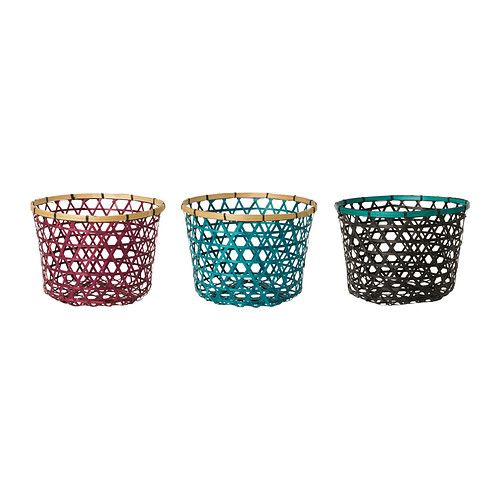 """HÖJDARE Basket - assorted colors, 12 5/8 """" - IKEA  These look perfect for all of my running headbands."""