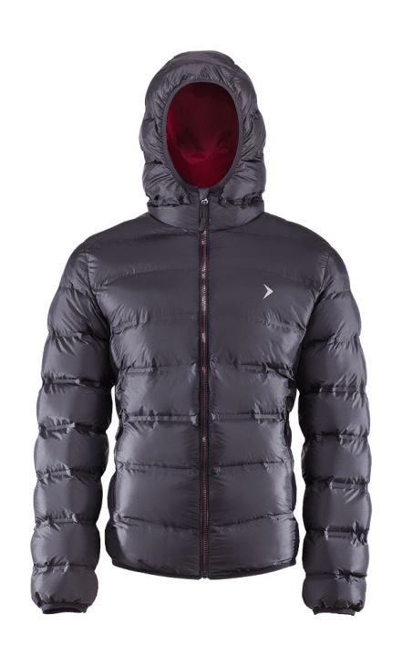 Men's down jacket with a classic cut, available in two colors. Made of extremely light material with Bionic Eco finishing, which guarantees increased protection from the moisture.   Benefits: -welded seams -integrated hood -two side pockets -reflective elements, increasing visibility -fabric easy in maintenance