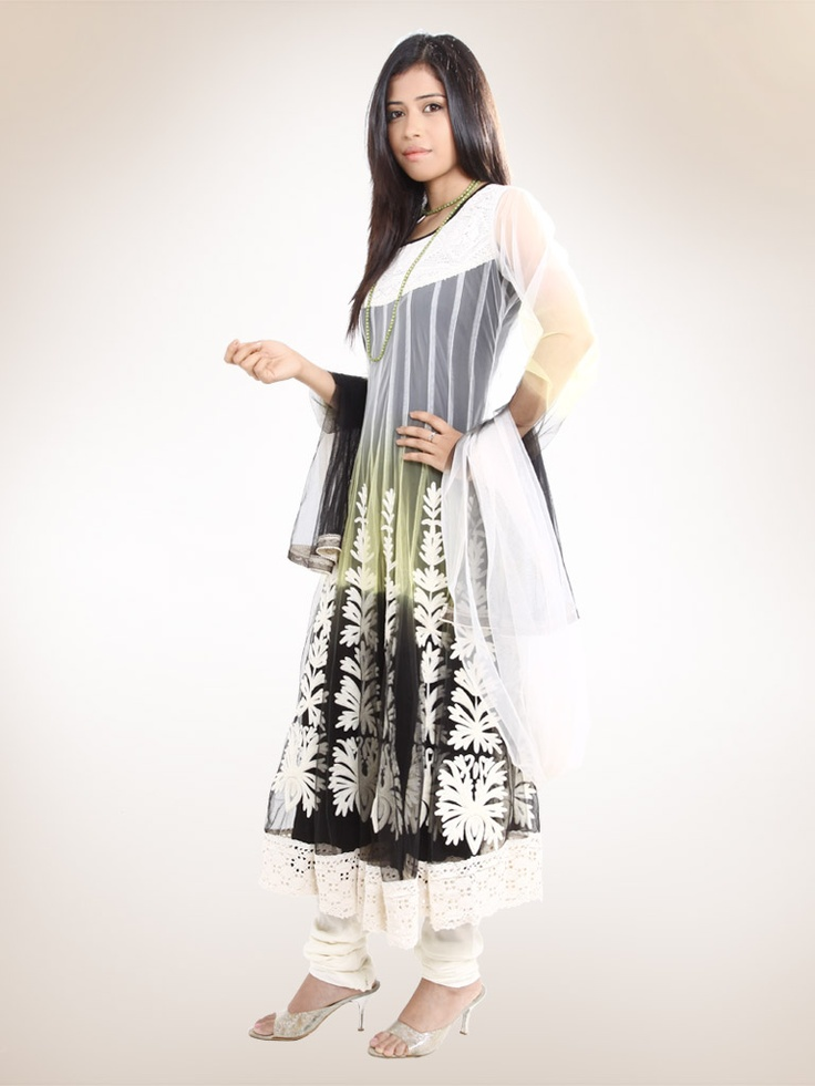Rs.5,049/-  3 Colour Tie and Dyed Croatia and Net Anarkali Suit