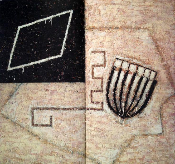 Mulasics László: Cím nélkül / Untitled, 1988, 260 x 280 cm, enkausztika, vászon / encaustic on canvas