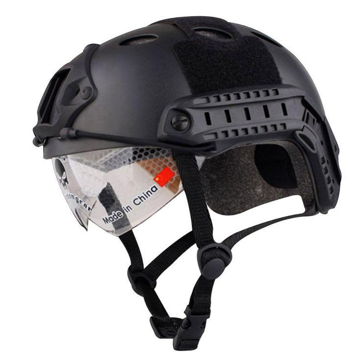 Airsoft Swat Helmet Combat Fast Helmet with Protective Goggles Black Tan