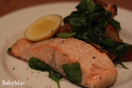salmon potato spinich