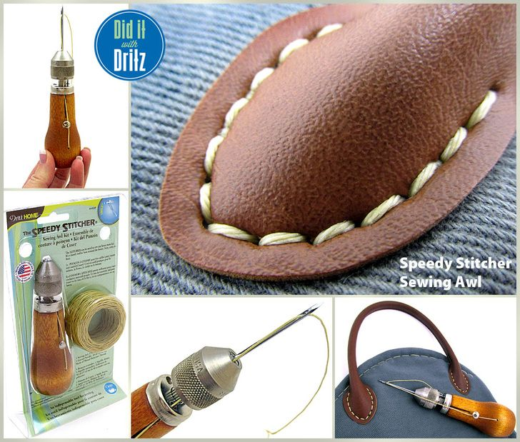 How to Use The Speedy Stitcher Sewing Awl from Dritz Home- Ever wondered how to attach a predrilled handle to a handbag, repair a shoe, mend a sail, make a belt, fix a tent… this is it. | Sew4Home
