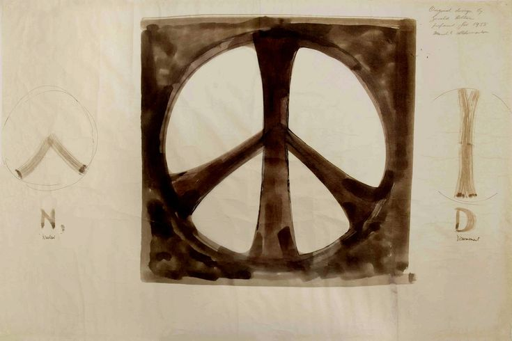 Original 1958 Sketches for the Peace Symbol designed by  British artist Gerald Holtom for for the Campaign for Nuclear Disarmament (CND) on the occasion of its first major march  in 1958