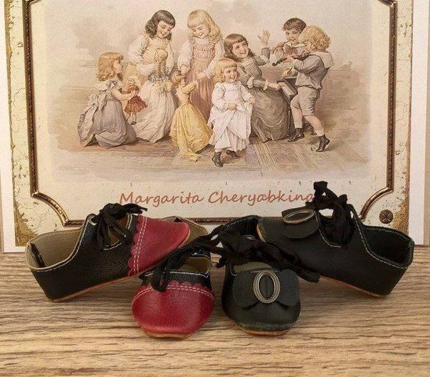 Мастер-класс по изготовлению кожаных туфель для антикварной куклы.
