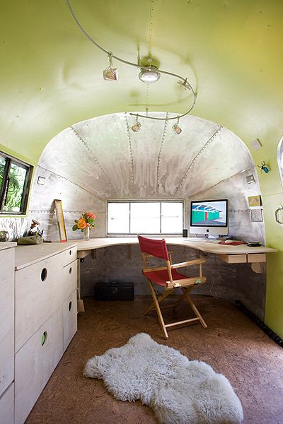 Office corner in Airstream travel trailer of Andreas Stavroupolos