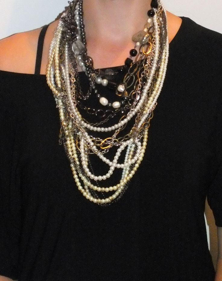 Glass Pearls, chain and Fresh Water Pearl accents #custom #sandrabullock #statement #necklace #pearls #chain
