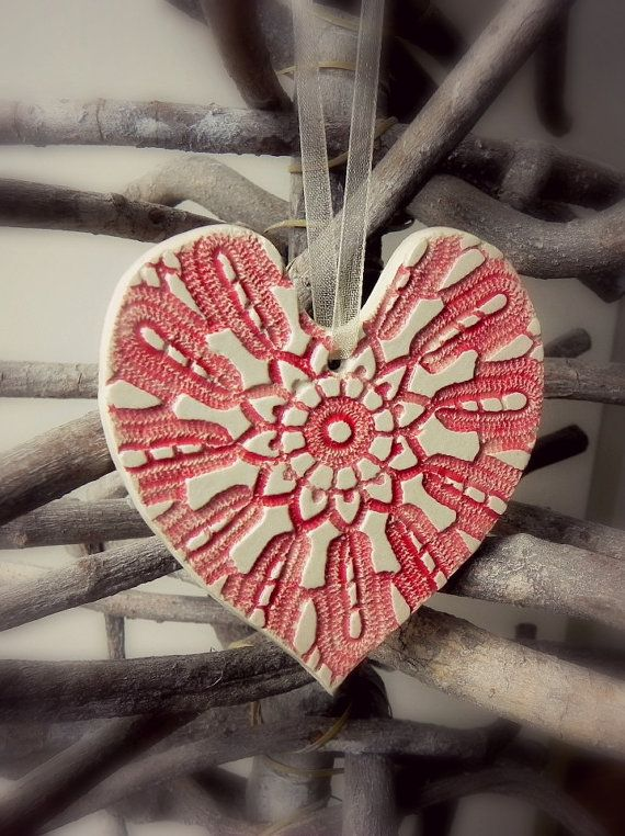 Personalized Rustic Lace Red White Ceramic Heart Ornament