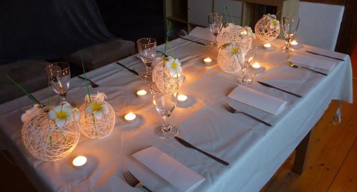 Yarn Balls and frangipanie Wedding centerpiece