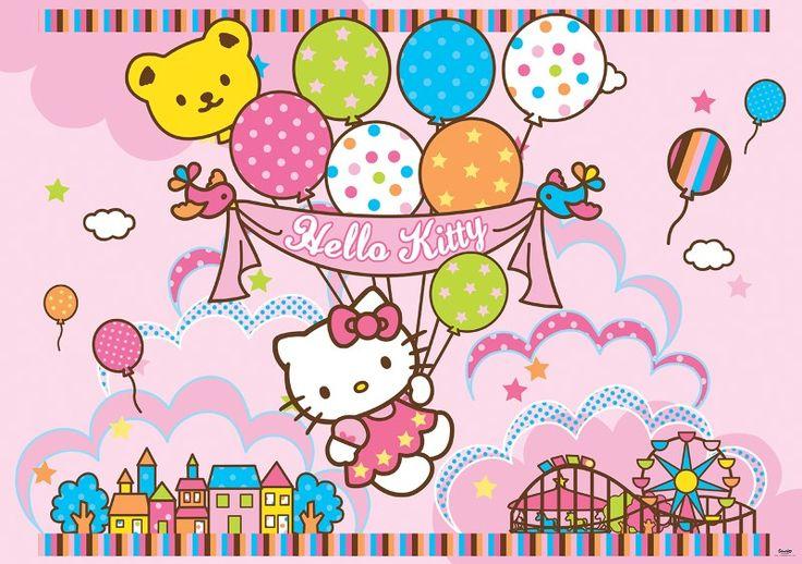 fototapet Hello Kitty and baloons