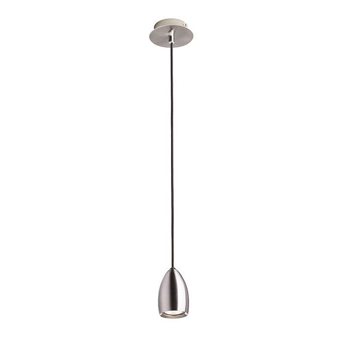 Závěsné svítidlo se stínidlem a stropní základnou z chromu nebo matného niklu. Černý textilní kabel.