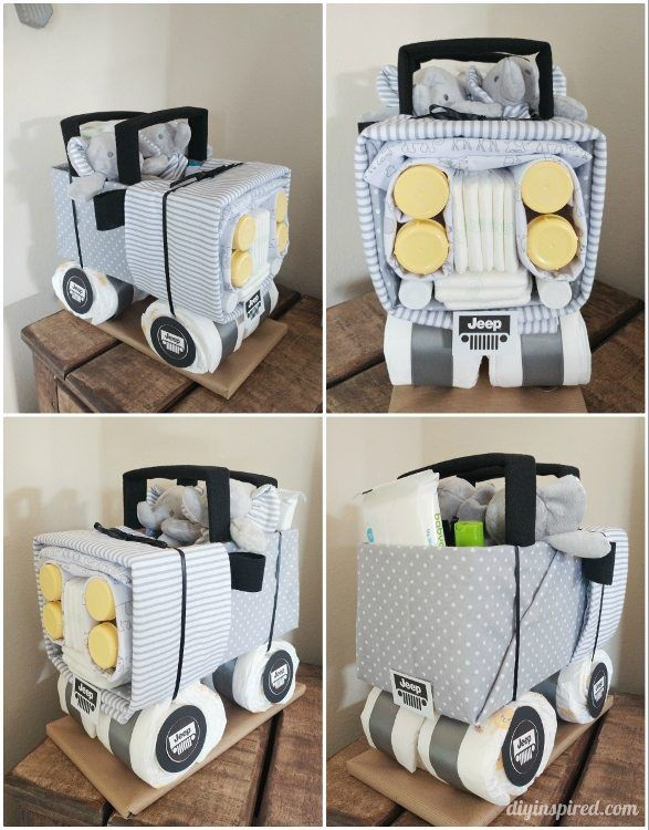 DIY Diaper Jeep Instructions; This creative homemade gift is perfect for baby showers and new arrivals!