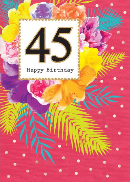 Debbie Edwards - Female Birthday Milestone Age Birthday Big Number Tropical Flowers Floral With Gold Spots 3