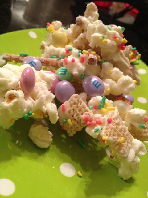 Bunny Bait = Ingredients: 2 cups pretzels,1 bag popped white popcorn, 1 package Almond Bark white melting chocolate, 1 bag of festive M's, 2 cups of Chex cereal, 1 container of sprinkles