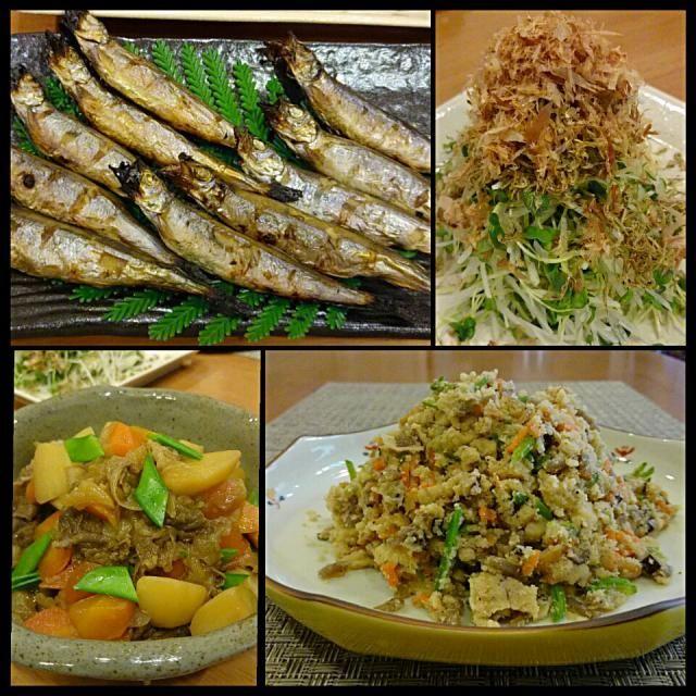 今日は野菜たっぷり、魚中心な和食。  ・シシャモ ・大根とカイワレサラダージャコ&鰹節のせ ・肉じゃが ・しっとり卯の花 ・豆腐と大根、ワカメの味噌汁  やっぱり和食は、ほっとする╰(*´︶`*)╯ - 99件のもぐもぐ - 和食でのんびり夕食 by Kei804