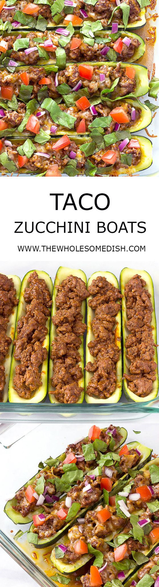 Taco Zucchini Boats - Easy recipe with seasoned taco meat stuffed in zucchini, topped with cheese, & baked. Top with your favorite taco toppings. Simple low carb dinner. via @afinks