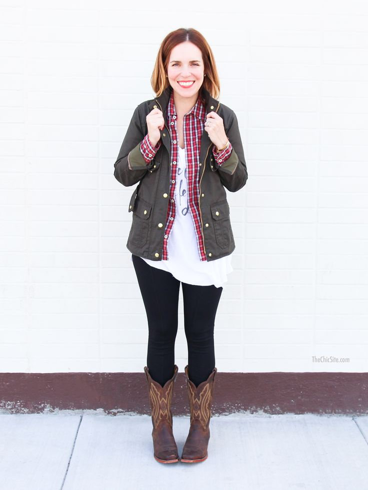 How to Wear: Cowboy Boots! Plaid shirt, cargo jacket ...