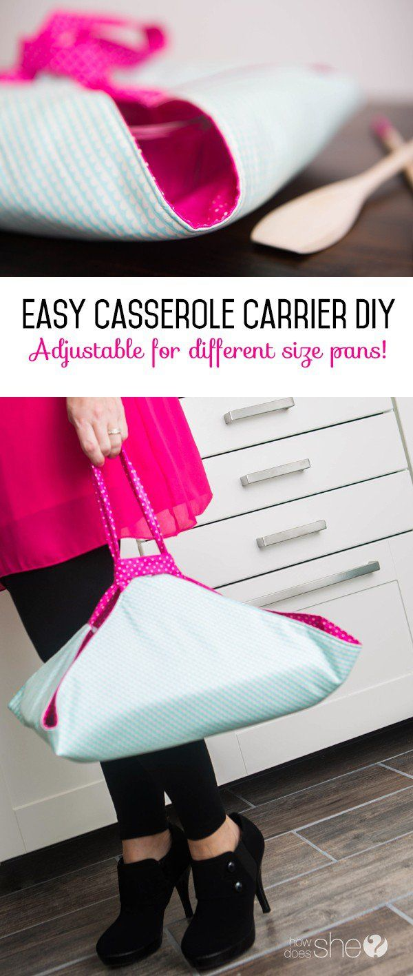 Easy Casserole Carrier DIY - adjustable for different size pans                                                                                                                                                                                 More