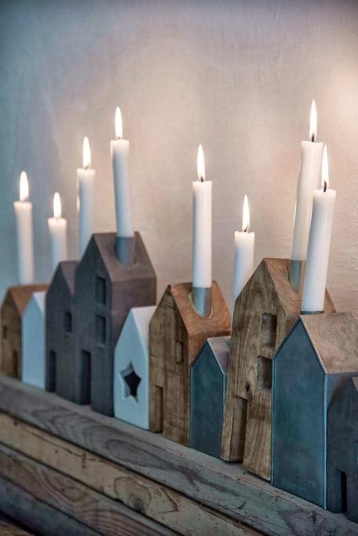 #houten #huisjes #kaarsen #standaard