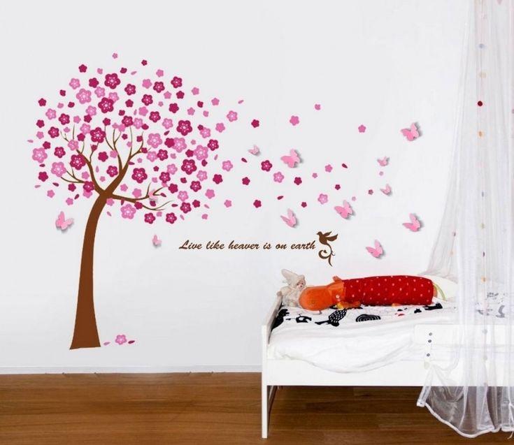 Muursticker roze bloesem boom met 3d vlinders