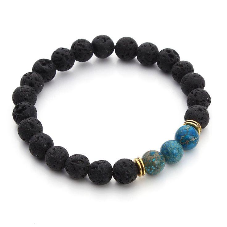 8MM Lava Rock & Blue Sea Sediment Jasper Mala Beads Energy Beaded Bracelet S62 #Handmade #Beaded