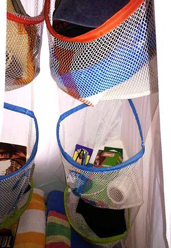 Popup redo hanging baskets hidden inside a hanging closet