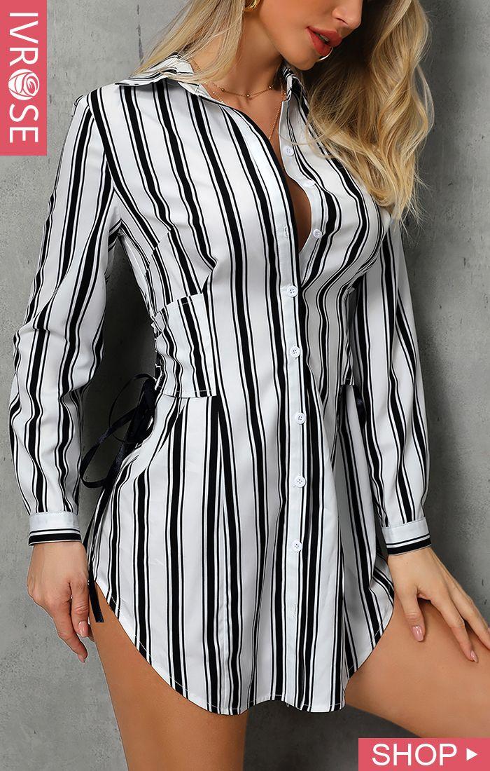 Striped Lace-Up Design Shirt Dress