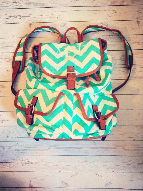 Preppy Monogrammed Canvas Chevron Backpack/ Carry On/ Satchel/ Diaper Bag on Etsy, $34.95