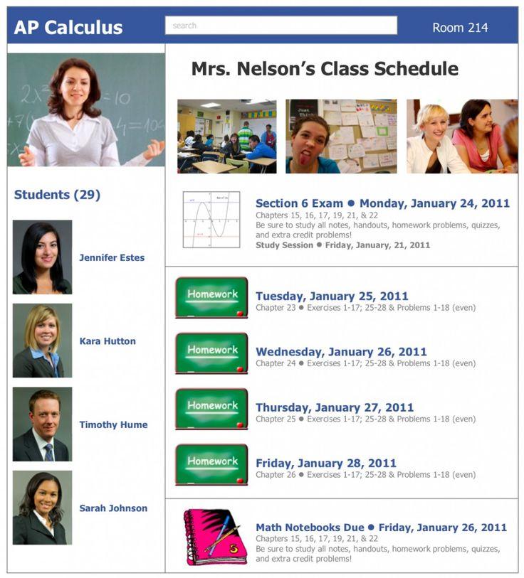 Facebook Themed Weekly Schedule Classroom Display