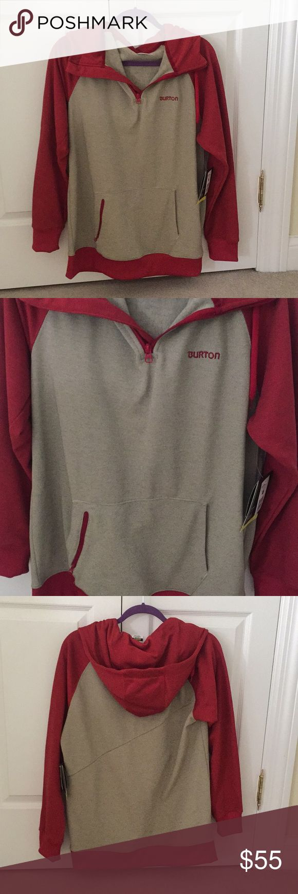 Burton Dry Ride Totem Hoodie Size Small New with tags. Burton men's beige and red quarter zip hoodie. Perfect for snowboarding/skiing. See tag photos for more details. Make an offer! Burton Jackets & Coats Ski & Snowboard