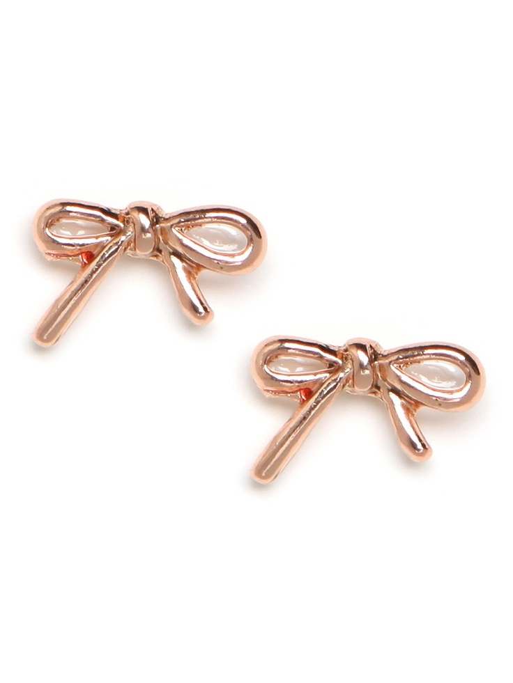 Rose Gold Ribbon Earrings.