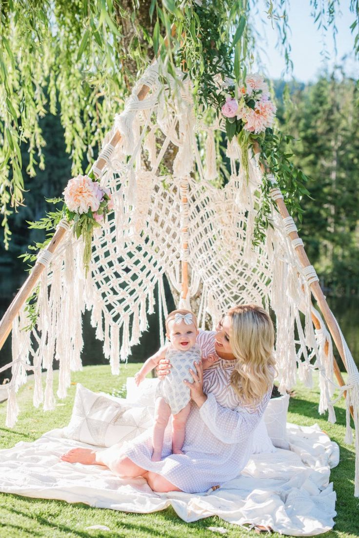Adorable baby shower teepee: Photography : Blush Wedding Photography Read More on SMP: http://www.stylemepretty.com/living/2016/07/25/see-how-jillian-harris-is-celebrating-baby-with-this-gorg-garden-shower/
