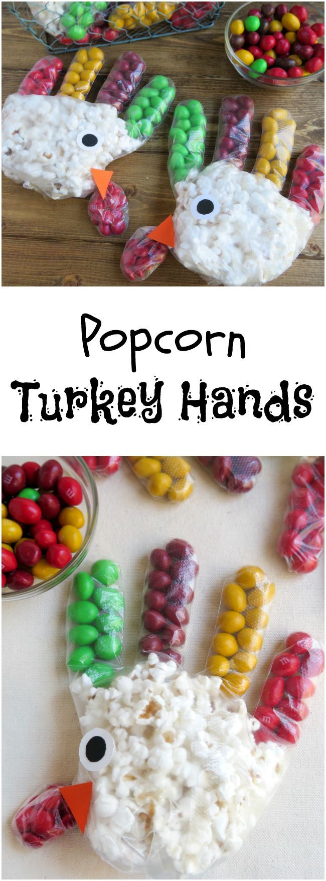 The kids can help you make the Popcorn Turkey Hands recipe and are great for a school party or the kid's Thanksgiving table.