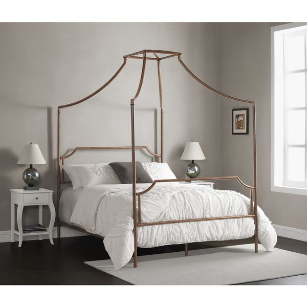 Bailey Brushed Copper Queen Size Canopy Bed