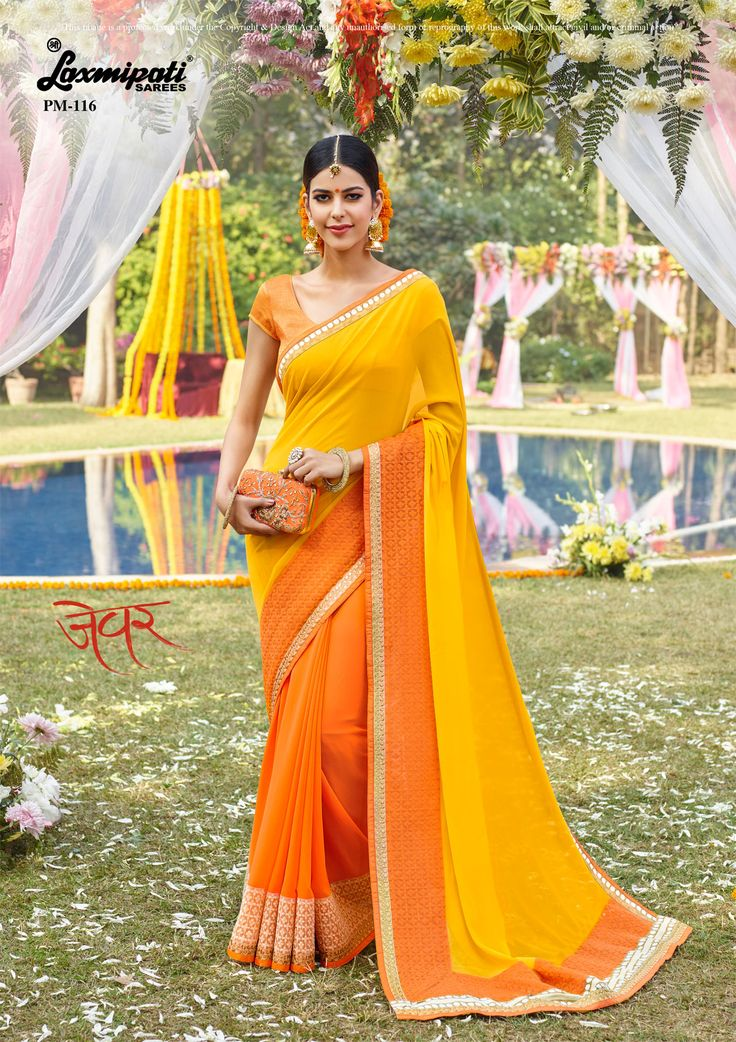 Get this eye-catching orange, yellow #georgette #partywear_saree and yellow satin #silk blouse along with net jacquard lace border from #Laxmipati_Saree. Catalogue- Zever, Design Number- 116 Price -₹ 2742.00  #HaveFun #HappyWeekend #Zever0317