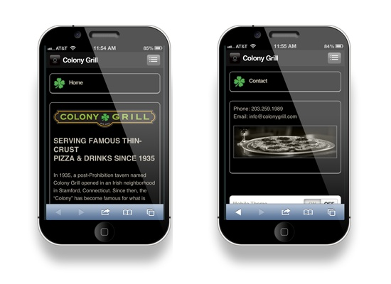 Colony Grill mobile website designed by Infinite Web Designs, LLC